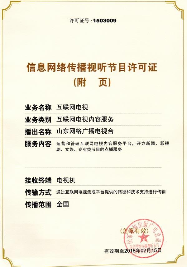 信息网络传播视听节目许可证附五